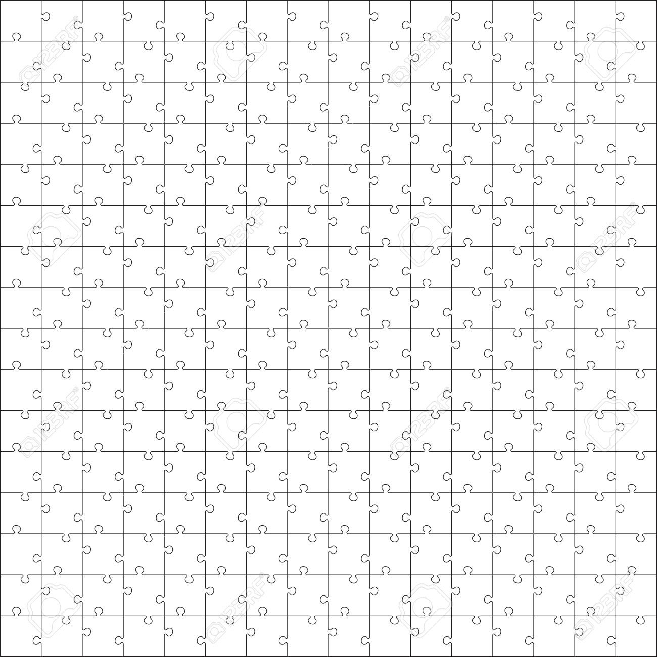 White Jigsaw Puzzle. Seamless Puzzle Texture. Puzzle Template ...