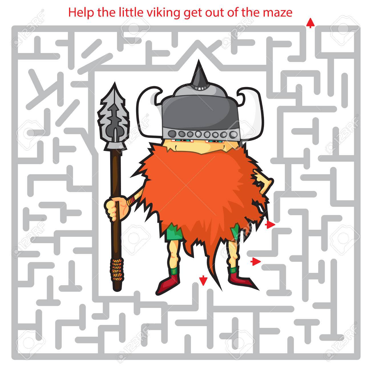 Funny Labyrinth Help The Viking Get Out Of The Maze Illustration