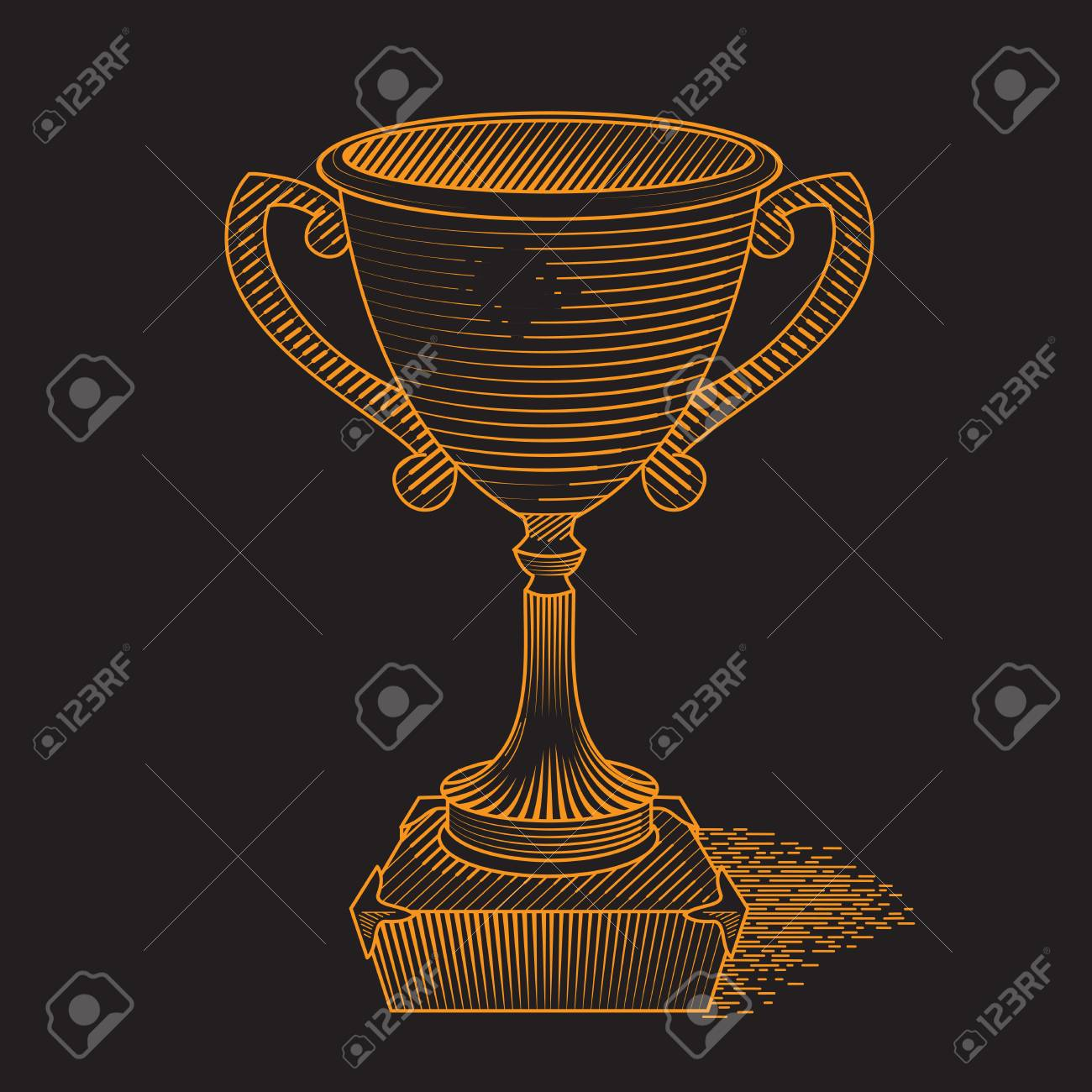 Metallic Trophy Cup First Place Winner Award Icon Of Gold Champions Illustration On