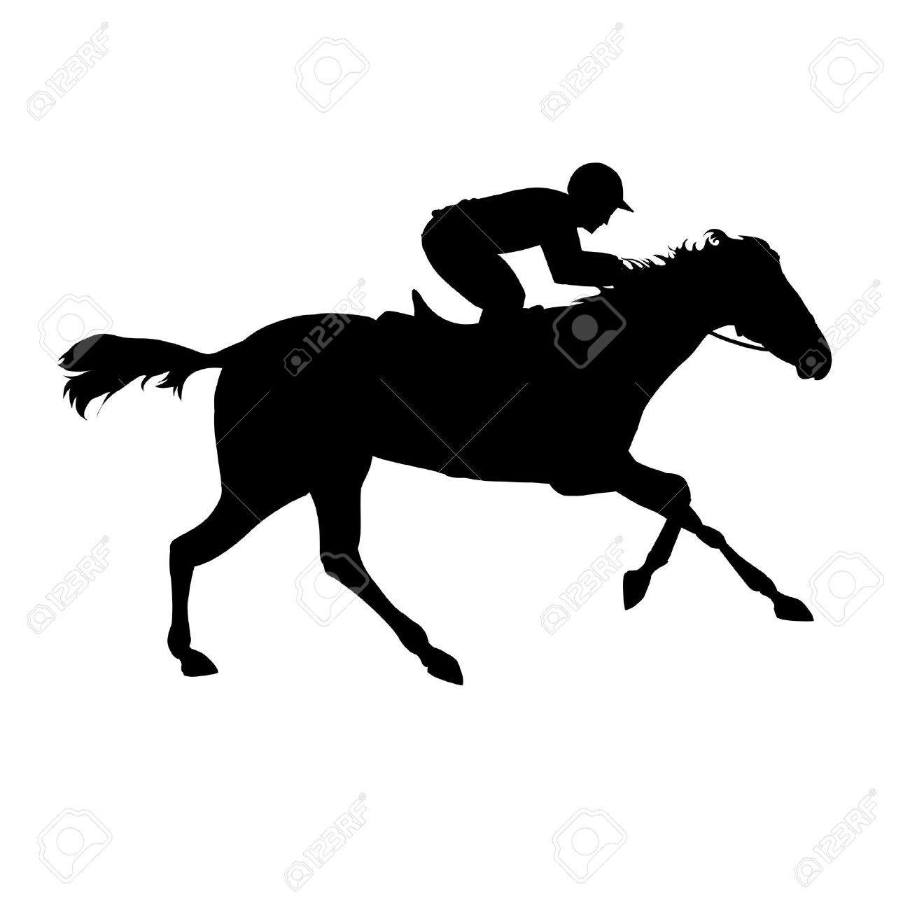 Horse Race Equestrian Sport Silhouette Of Racing With Jockey On Isolated Background