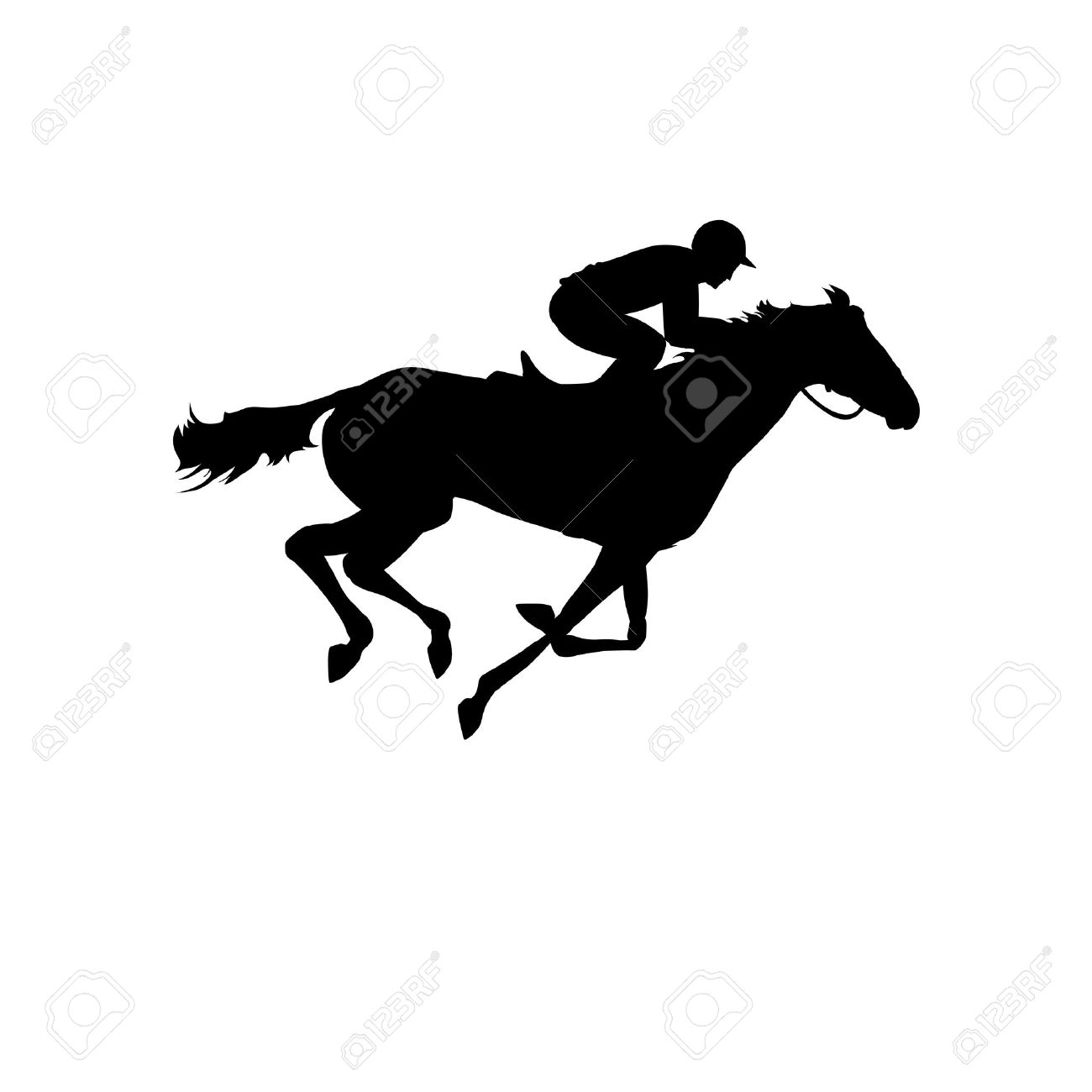 Horse Race Silhouette Of Racing With Jockey On Isolated Background And