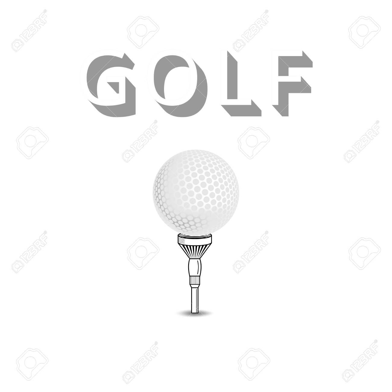46e6f8e7 Golf ball on white tee realistic vector illustration isolated. Vector golf  ball isolated on white