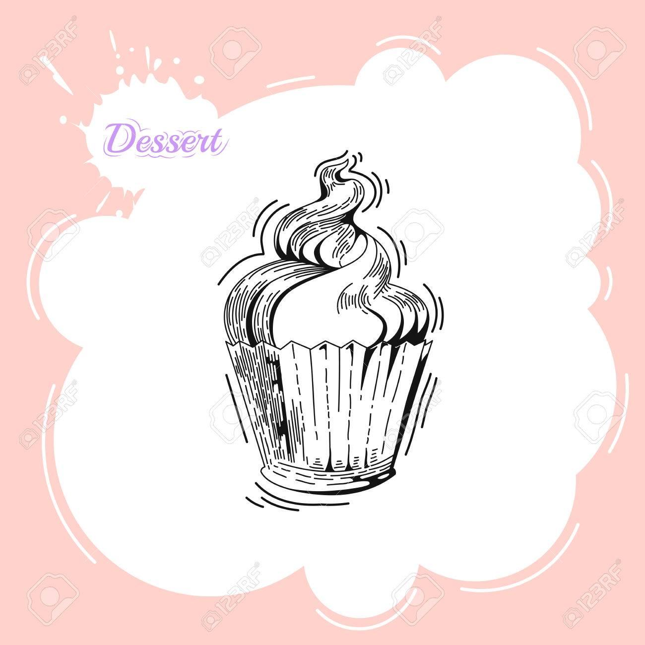 Cupcakes. Cartel En Estilo Vintage. Panadería Anuncio Plantilla De ...