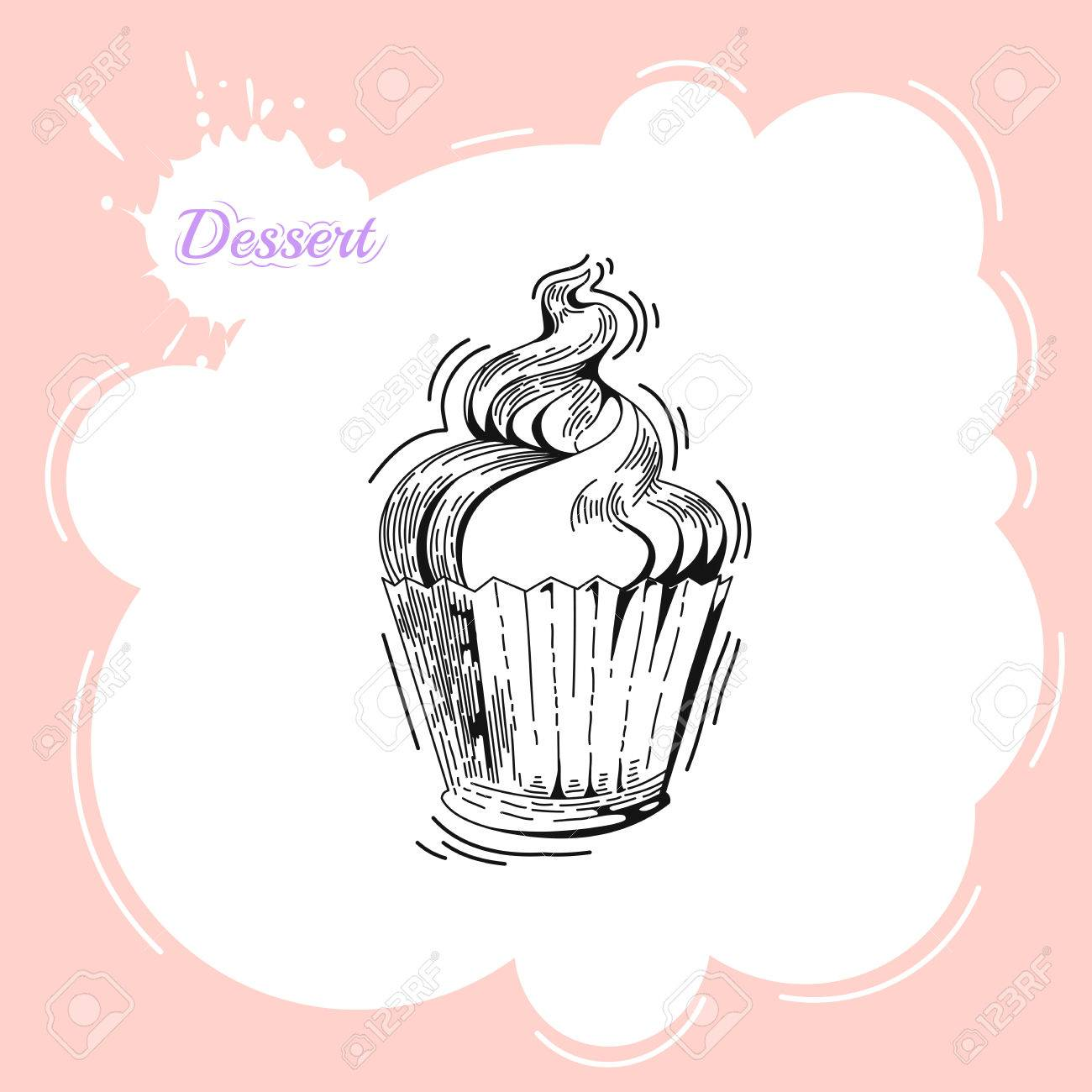 Cupcakes  Poster in vintage style  Bakery advertisement design