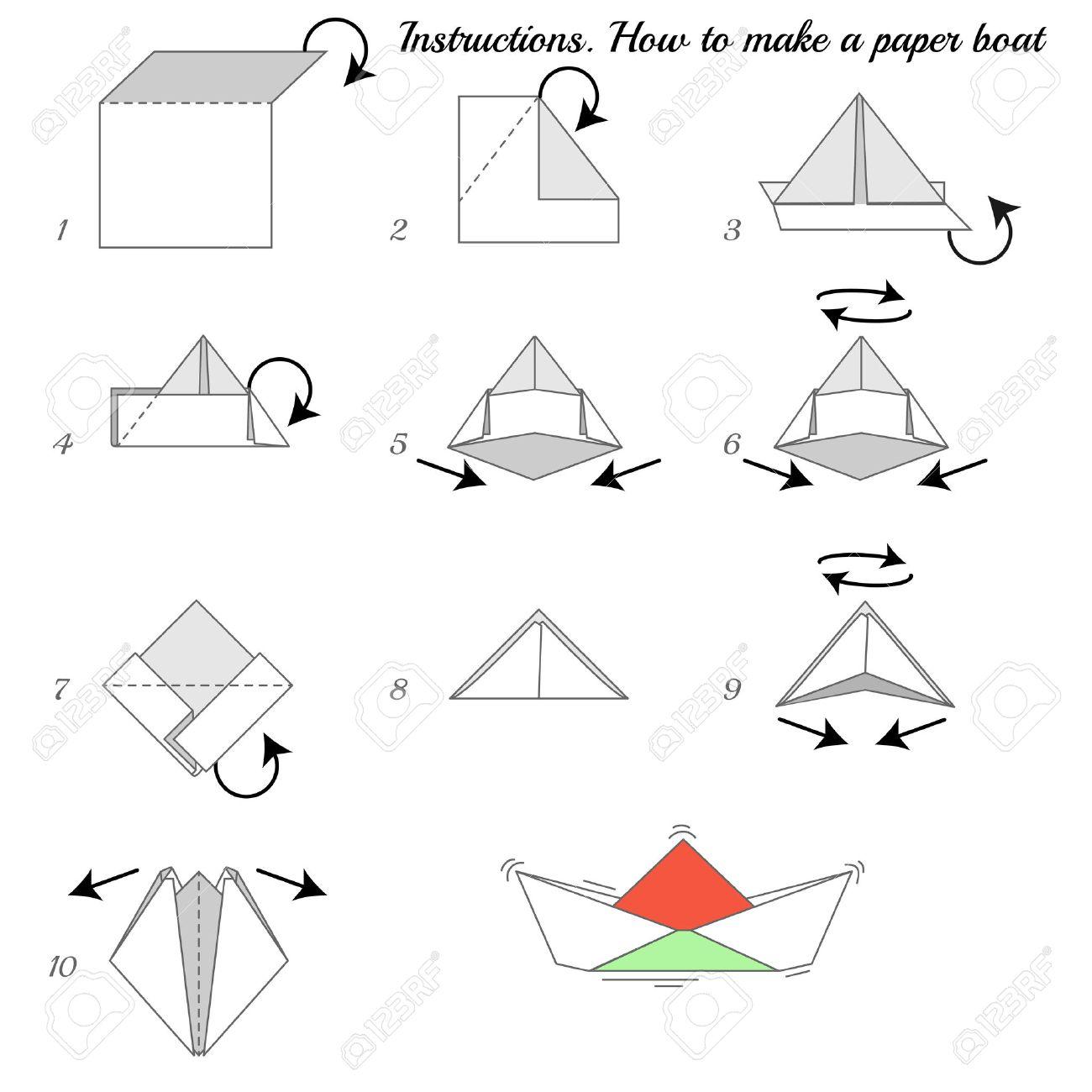 Instructions Comment Fabriquer Du Papier Navire Paper Ship Tutoriel étape Par étape Bateau De Vector Jeu éducatif Pour Les Enfants Jeu Visuel