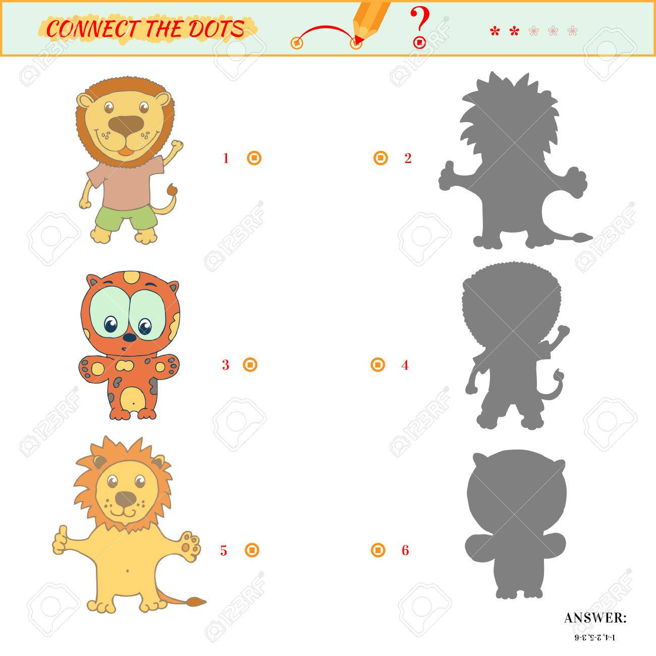 visual puzzle or picture riddle shadow matching game connect