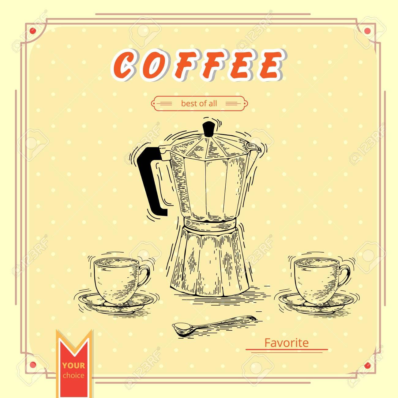hand drawn coffee set coffee maker vintage coffee posters