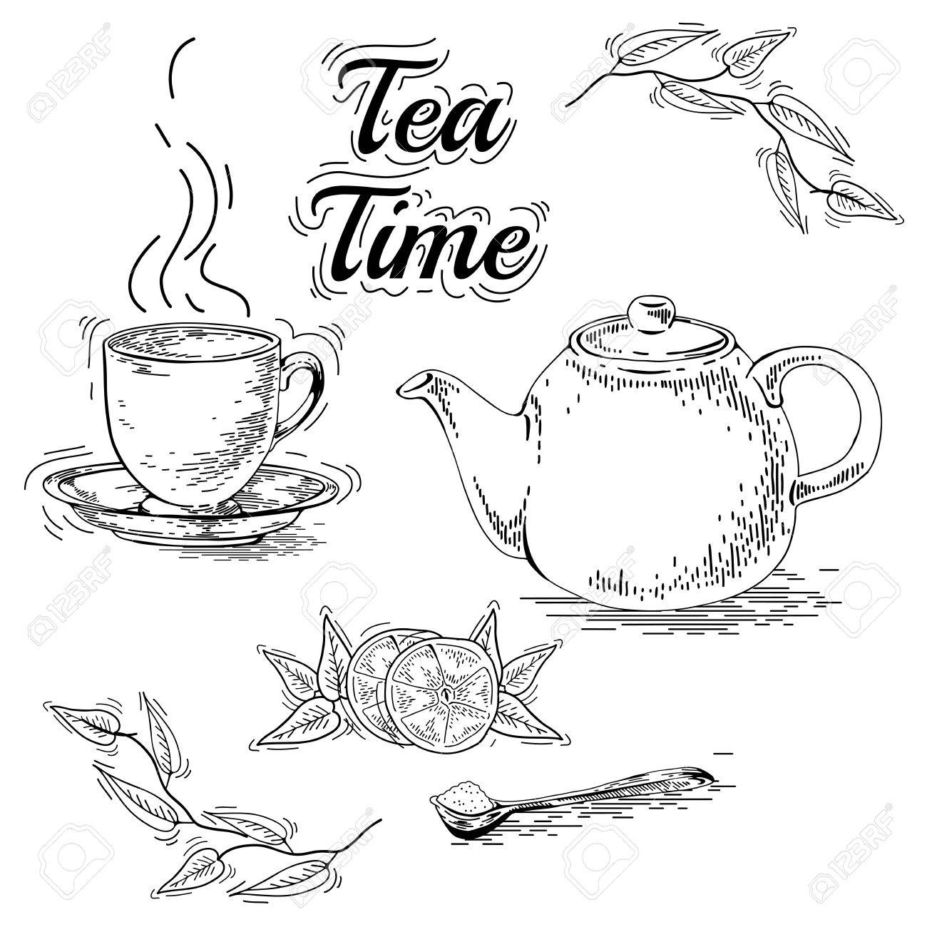 hand drawn tea set teapot vector vintage tea posters set of royalty free cliparts vectors and stock illustration image 43760871 hand drawn tea set teapot vector vintage tea posters set of