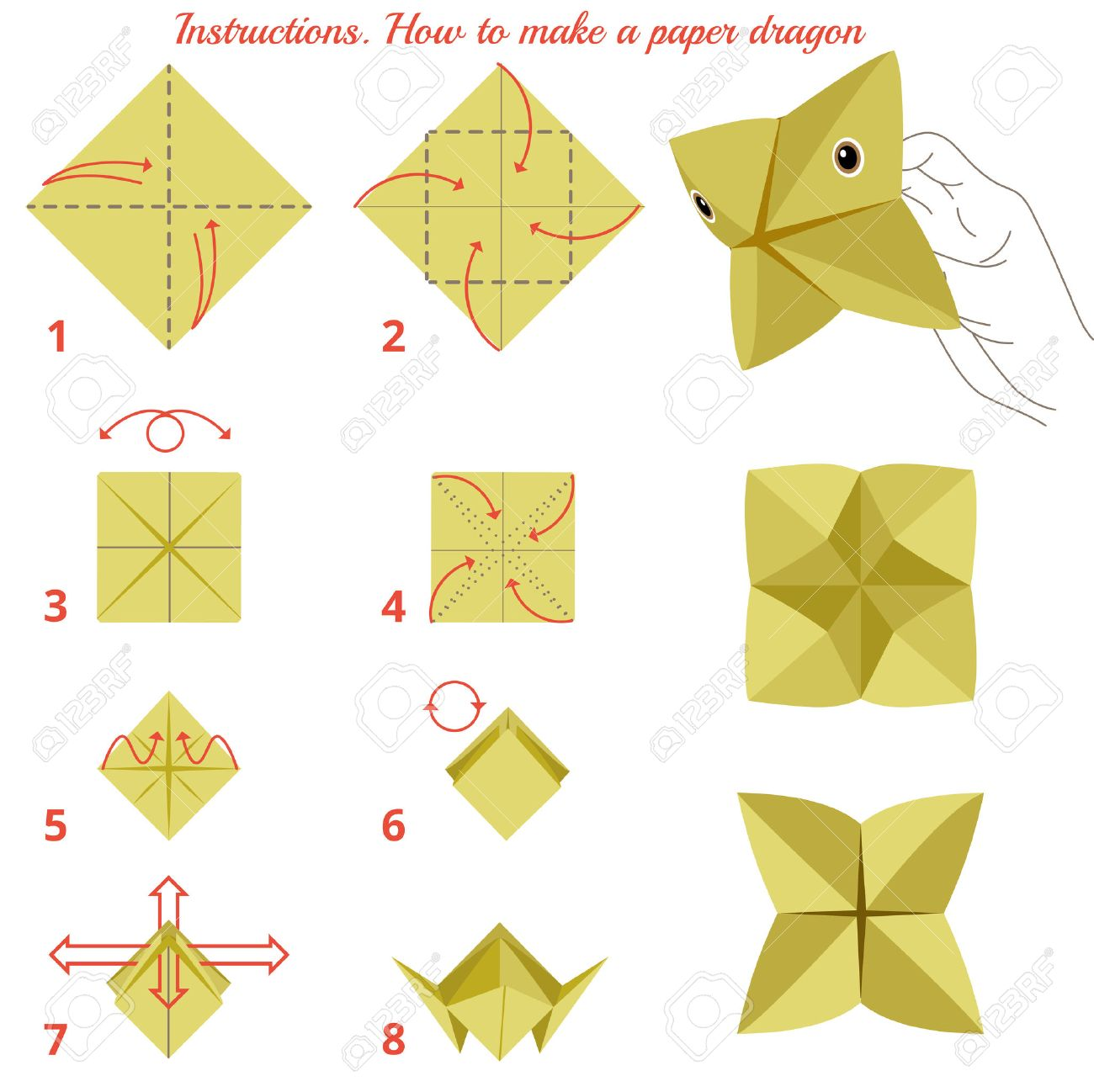 Instructions how to make paper dragon  Animal tutorial step by
