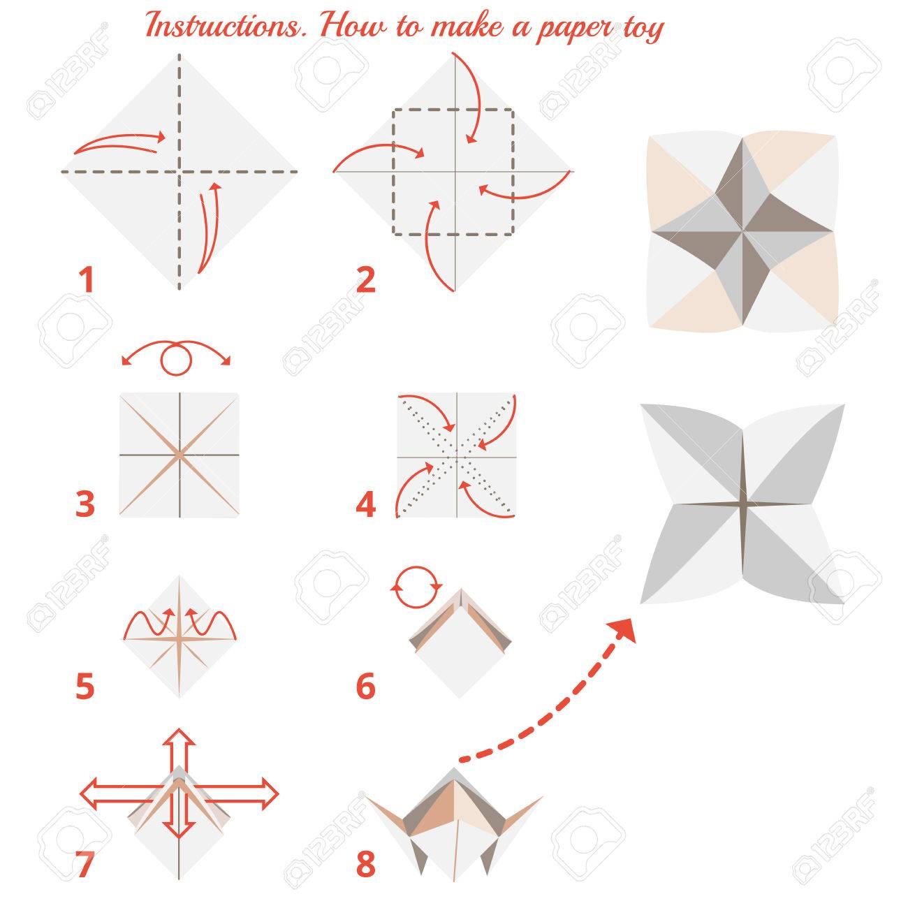 Instrucciones De Cómo Hacer Juguete Origami Papel Origami Tutorial Paso A Paso Vector Origami Juego Educativo Para Los Niños Juego Visual
