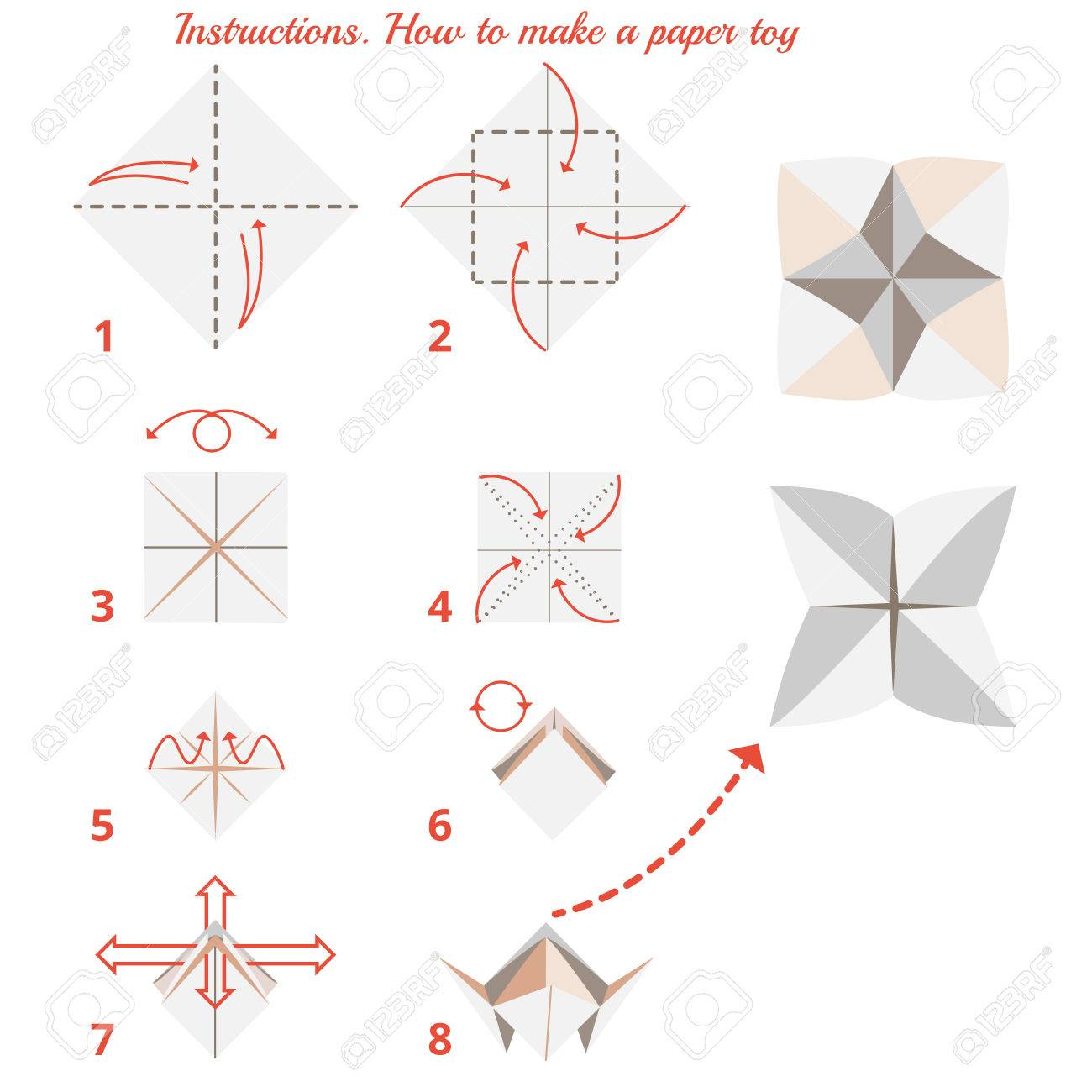 Instructions How To Make Paper Origami Toy Tutorial Step By Vector