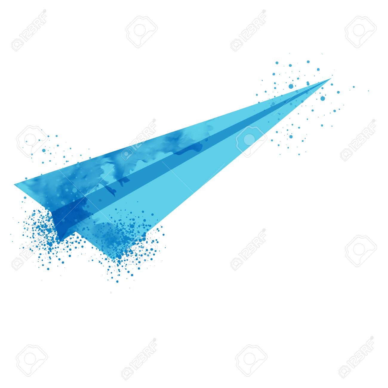 flying paper airplane  vector watercolor plane  cartoon flying plane  watercolor hand lettering    RF com