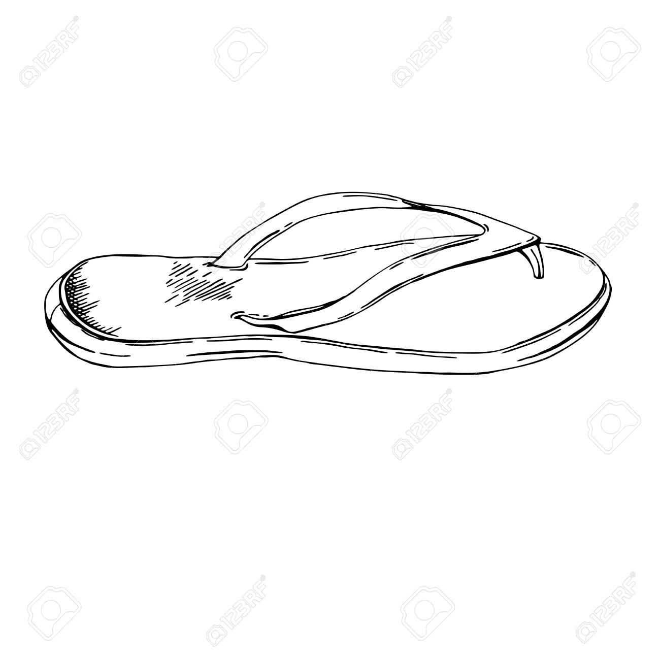 d0c007fc2c0dc0 Hand drawn sketch illustration. summer vacations background. Flip-flops  isolated on isolated background. Beach slippers. Vintage