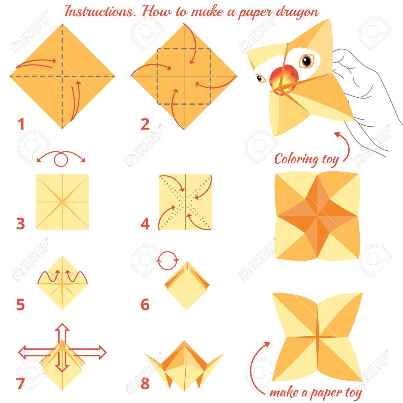 Instrucciones De Cómo Hacer El Papel De Las Aves Origami Tutorial Paso A Paso Juguete Del Vector Juego Educativo Para Los Niños Juego Visual