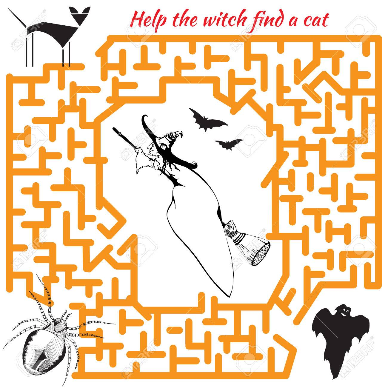 Halloween Maze Game For Kids. Visual Game For Preschool Children ...
