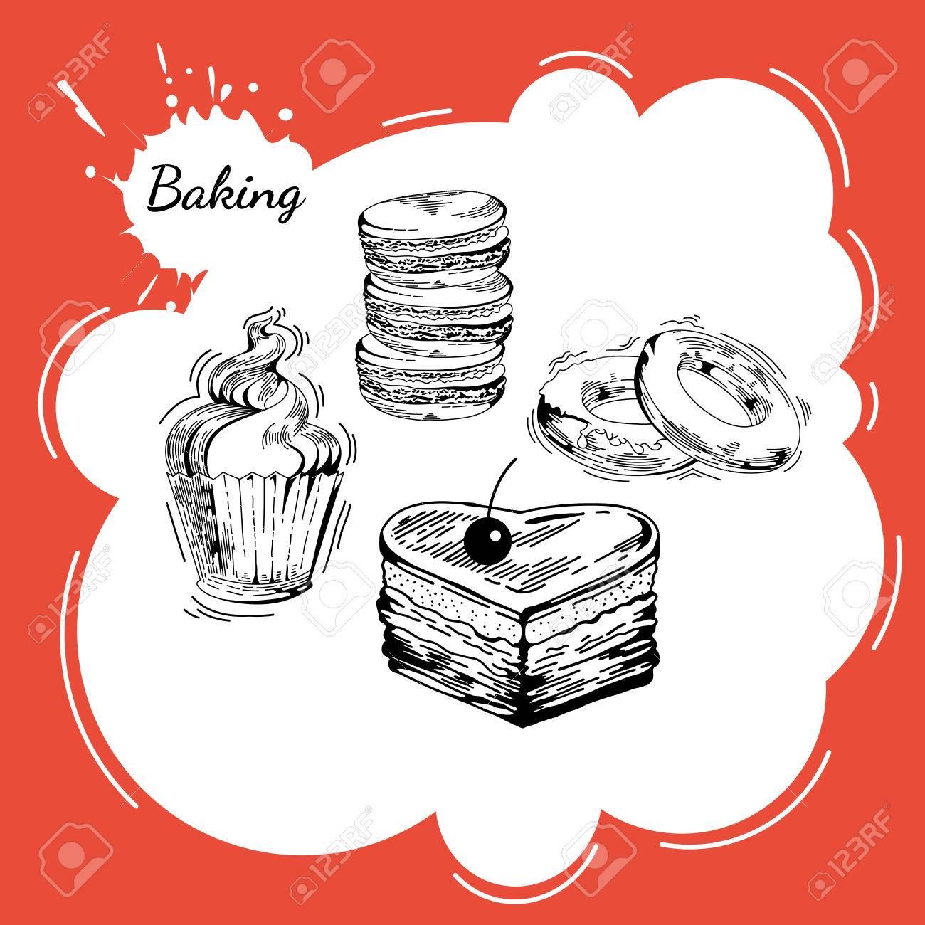 Dessin Boulangerie vector set de bonbons de boulangerie. main dessin pâtisserie, les