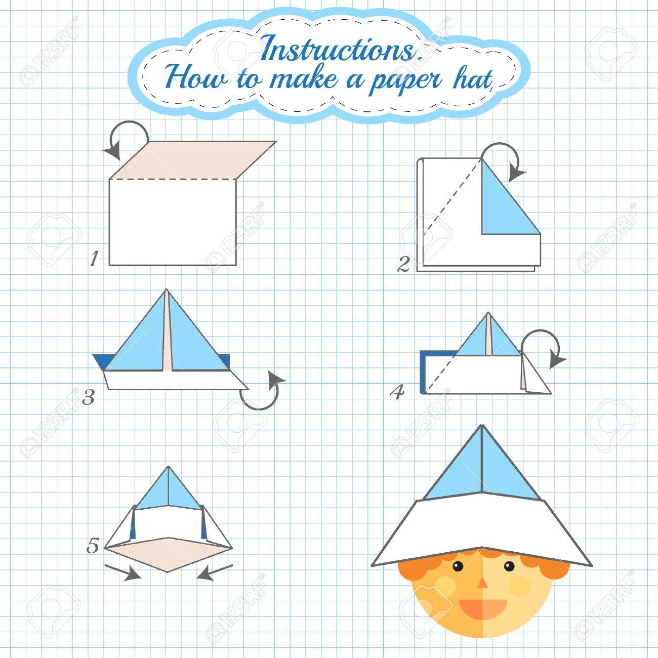Instrucciones De Cómo Hacer El Sombrero De Papel Sombrero Tutorial Hecho Del Paso Del Papel A Paso Vector Origami Sombrero Juego Educativo Para