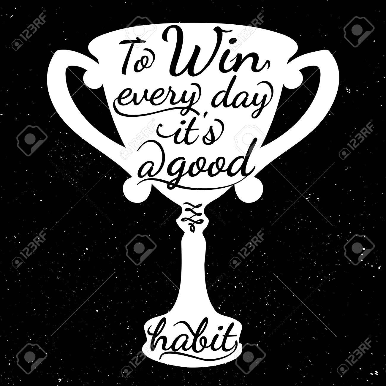 Black and white motivational posters  Trophy cup in vintage style