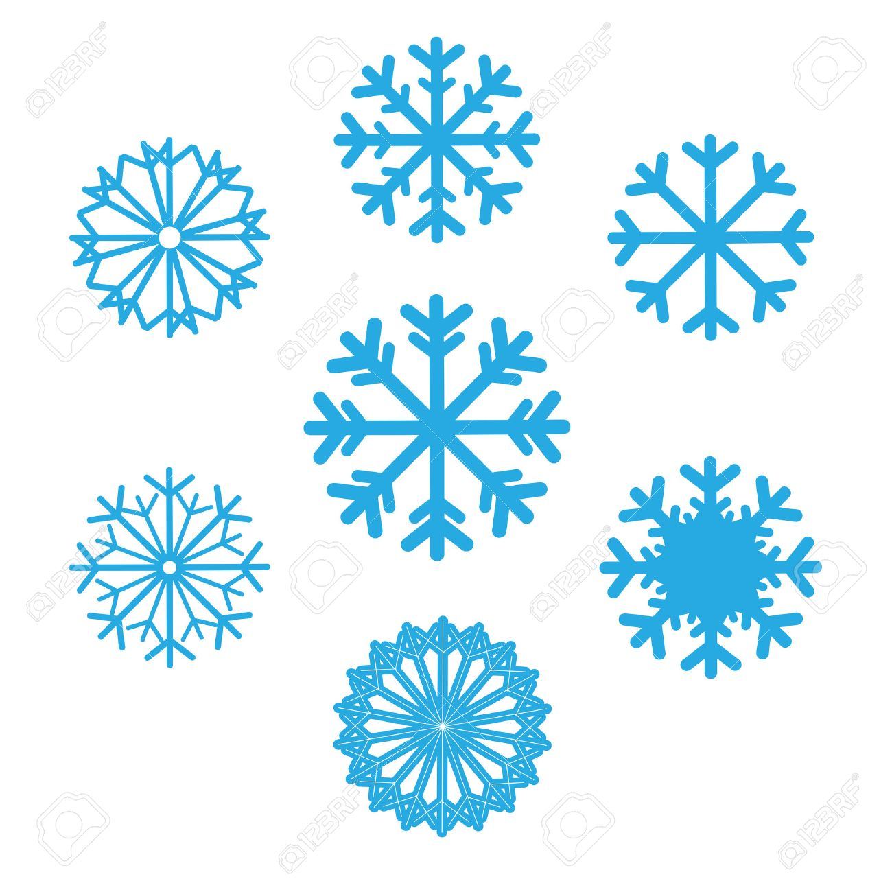 set of snowflakes vector icons background for winter and christmas theme set snowflakes flat
