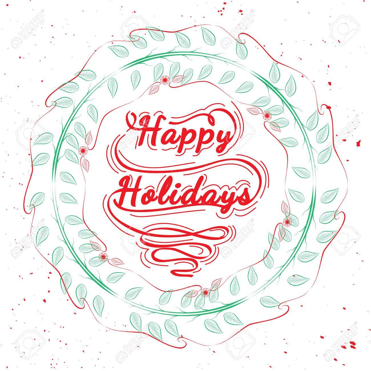 Christmas decorative symbols for winter holidays happy holidays christmas decorative symbols for winter holidays happy holidays quote in wreath mistletoe wreath buycottarizona Image collections