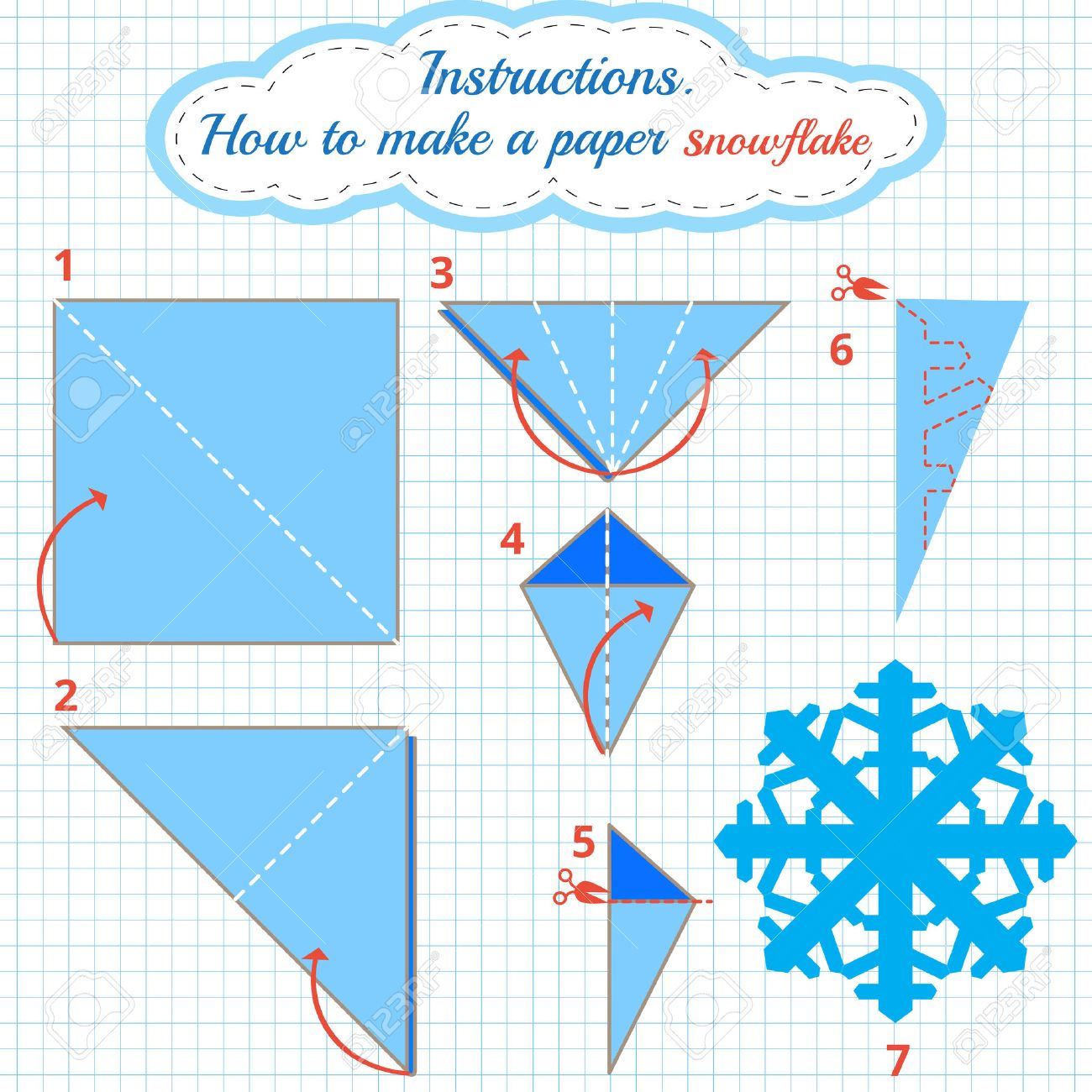 Instructions How To Make Paper Snowflake Tutorial Christmas