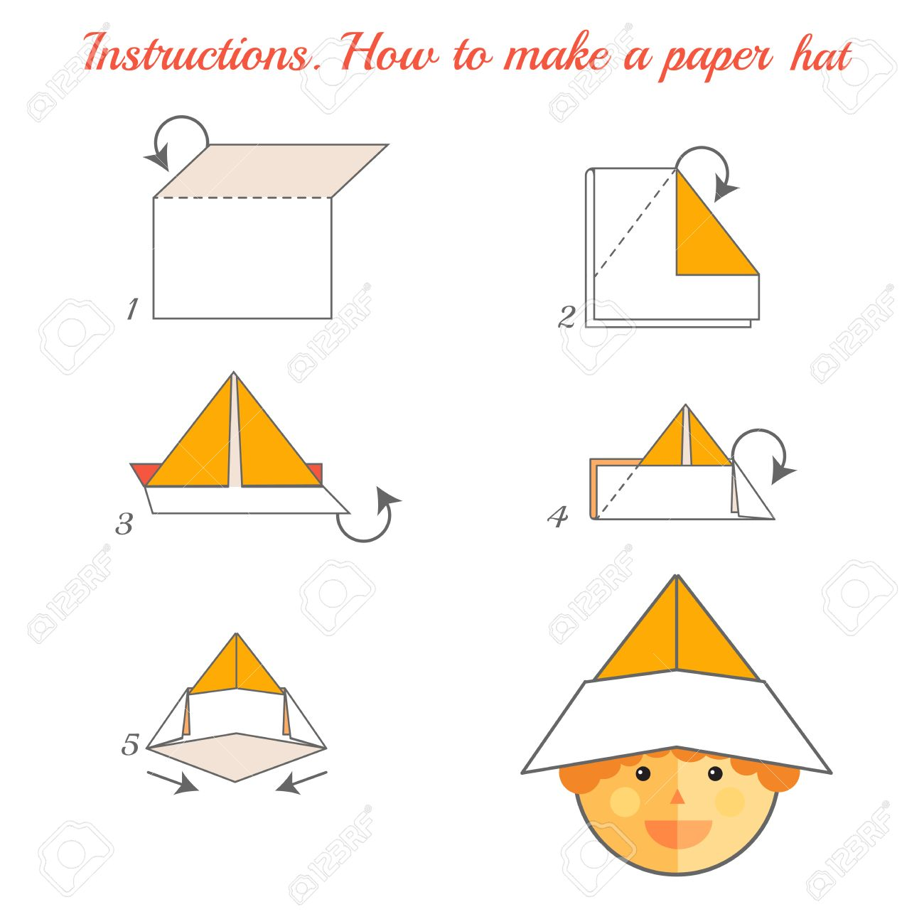 Instructions How To Make Paper Hat Tutorial Made Of Step By