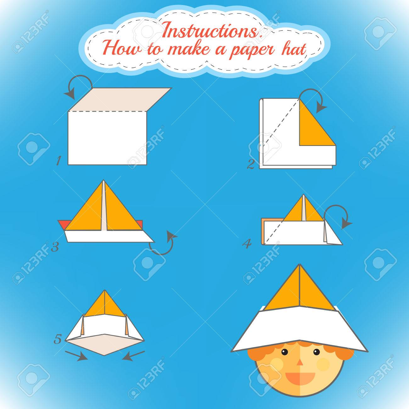 Instructions How To Make Paper Hat Tutorial Hat Made Of Paper Royalty Free Cliparts Vectors And Stock Illustration Image 54971233