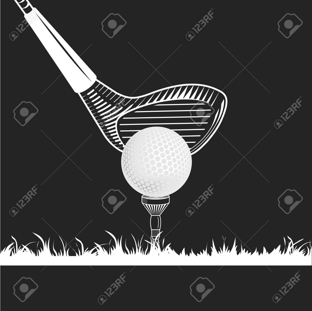 Golf Club Close Up Golf Club Ball Tee Grass White Color On Royalty Free Cliparts Vectors And Stock Illustration Image 54971345