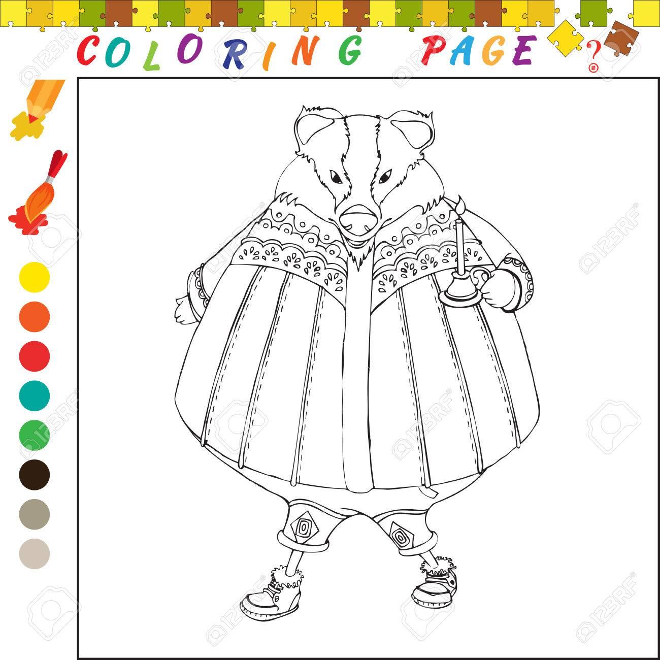 Coloriage Livre Avec Le Theme Des Animaux Noir Et Blanc Illustration De Contour Pour La Coloration Jeu Visuel Pour Les Enfants Et Les Enfants