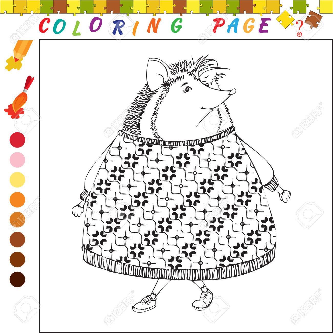 Livre  colorier avec hérisson Illustration de contour en noir et blanc pour la coloration