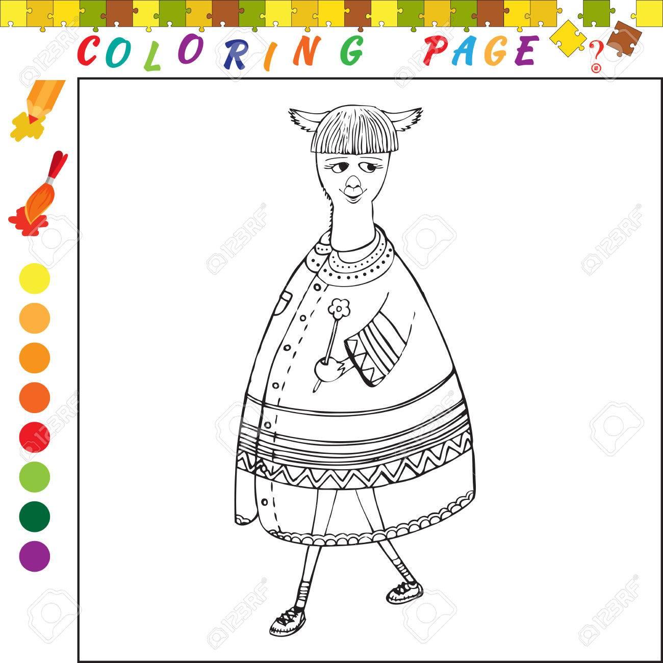 Livre De Coloriage Avec Le Theme Des Animaux Illustration De Contour Noir Et Blanc A Colorier Jeu Visuel Pour Les Enfants Et Les Enfants D Age