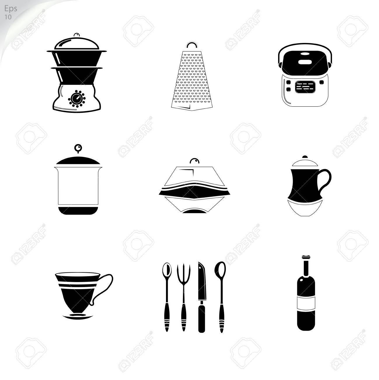Umreißen Utensilien Zeichnen. Vektor-Icons. Web. Flache Abbildung ...