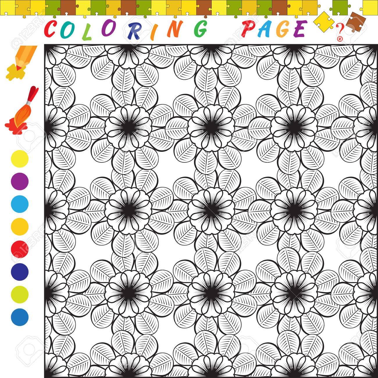 Libro Para Colorear Con El Tema De Las Flores Ilustracion Del