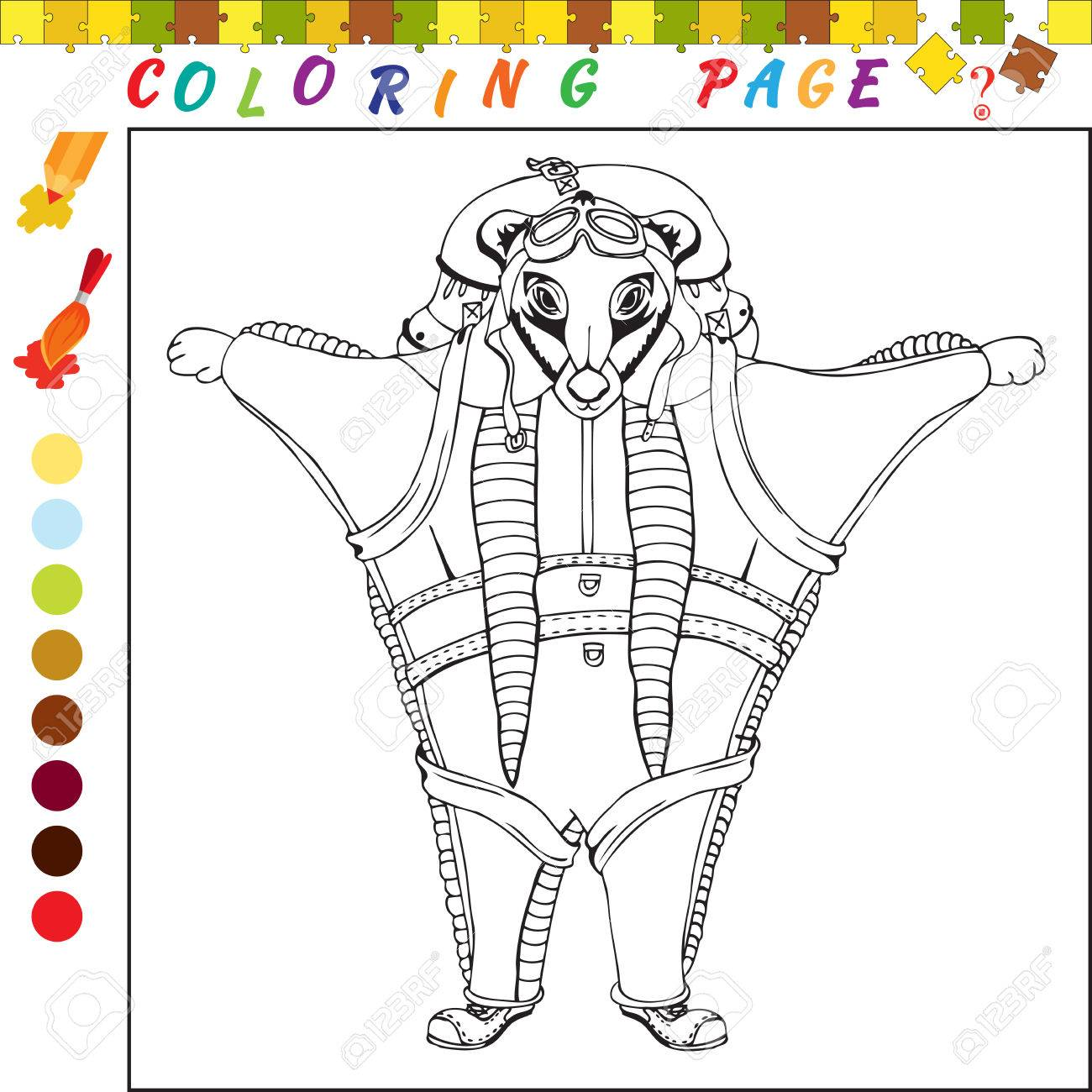 Livre De Coloriage Avec Le Theme Des Animaux Illustration De Contour Noir Et Blanc Pour La Coloration Jeu Visuel Pour Enfants Et Enfants D Age