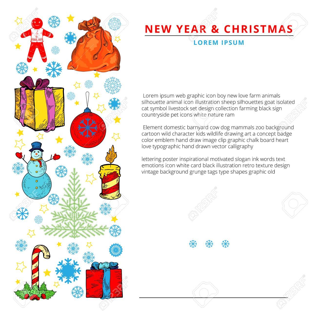 Weihnachtsfeier Konzept - Viele Weihnachten Und Neujahr Symbole Auf ...