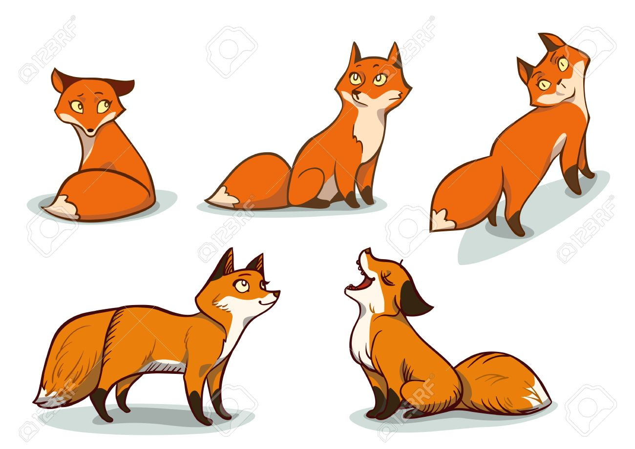 Funny Cartoon Foxes Royalty Free Cliparts Vectors And Stock