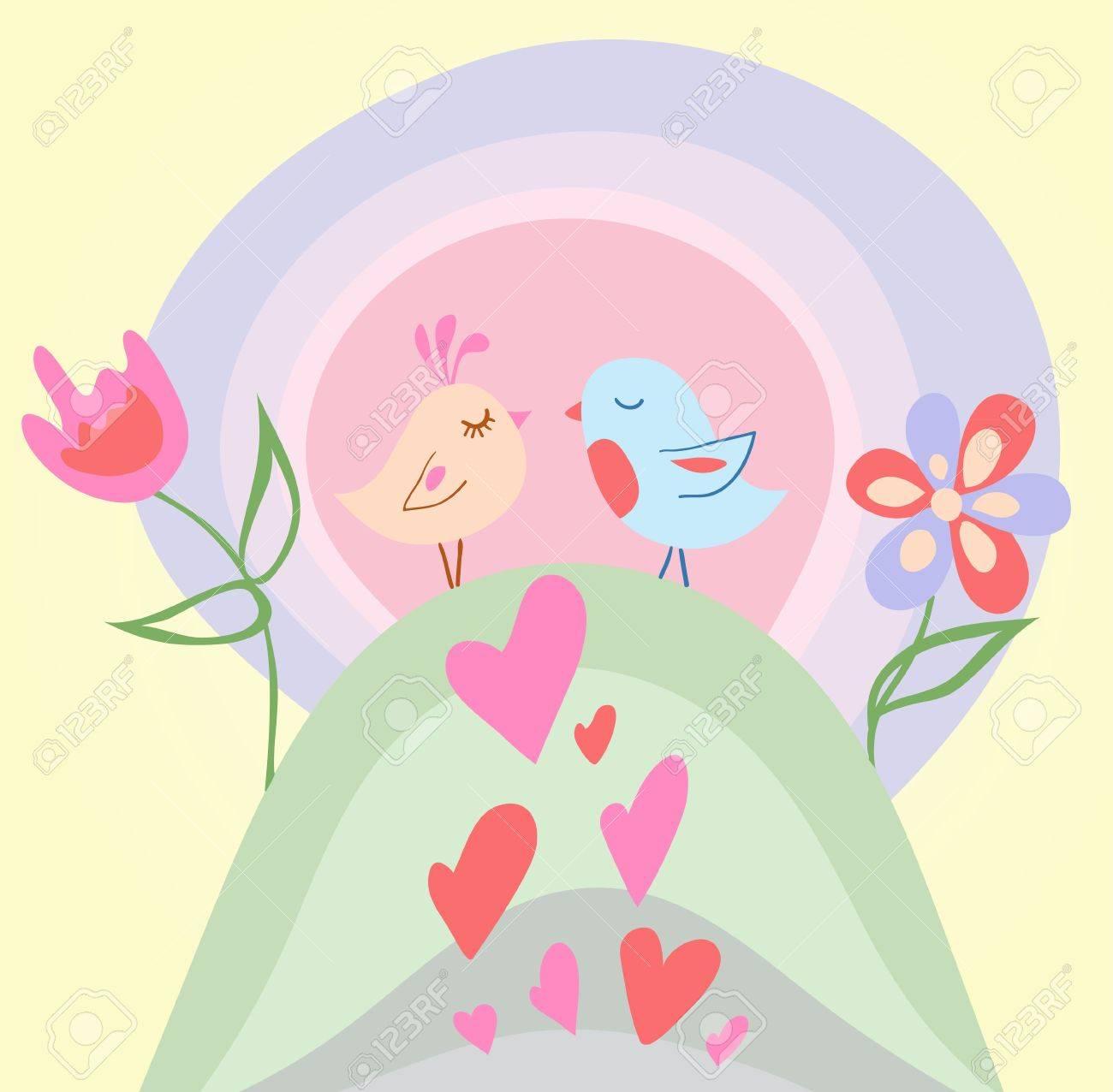 Tiny love bird illustration Stock Vector - 11433031