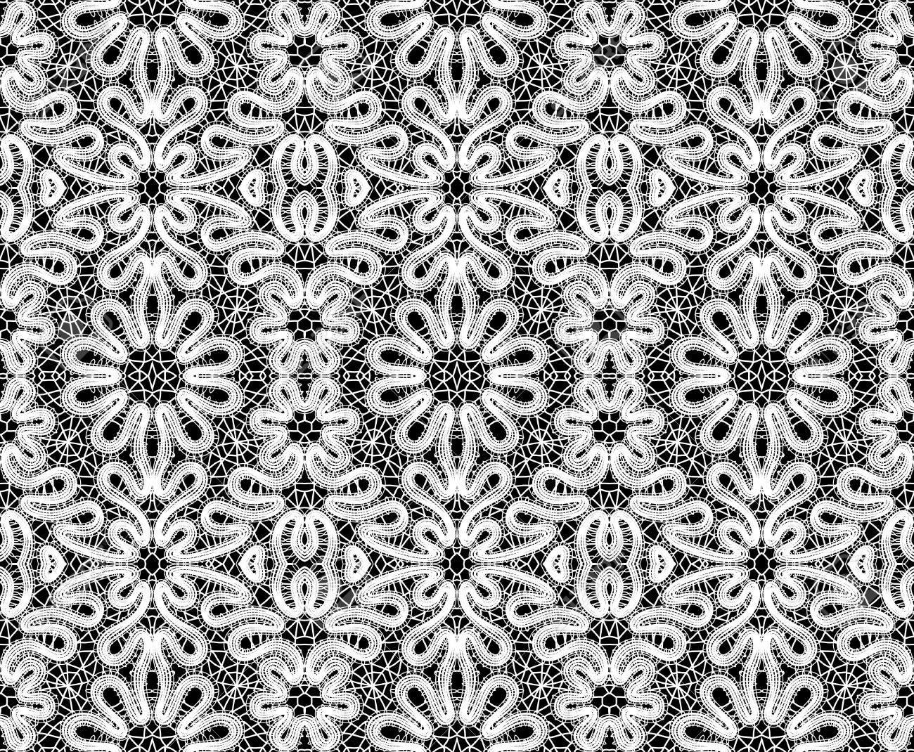 Beautiful white lace on black background. illustration Stock Vector - 12487188