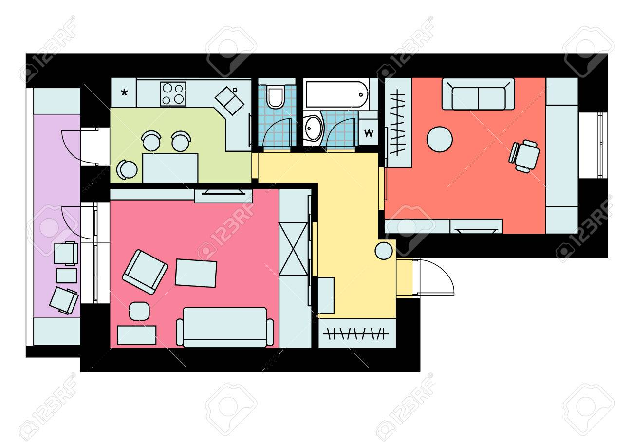 the plan of arrangement of furniture one bedroom apartment with rh 123rf com