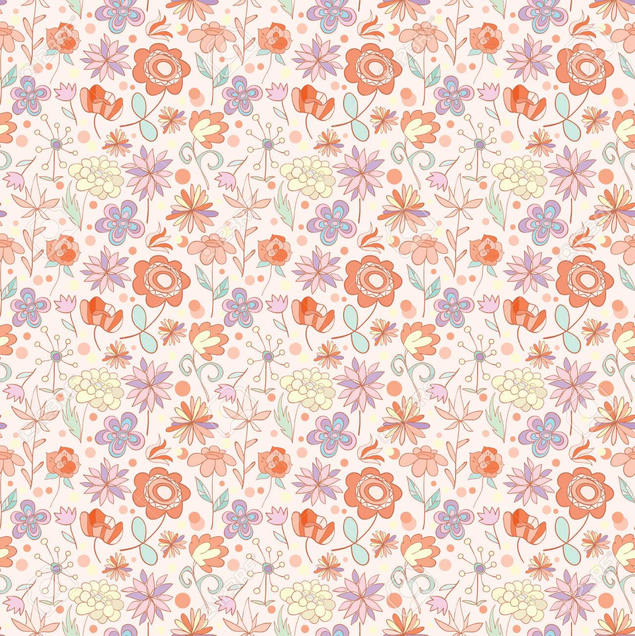 Red Pink With Yellow Seamless Pattern With Cartoon Flowers Vector