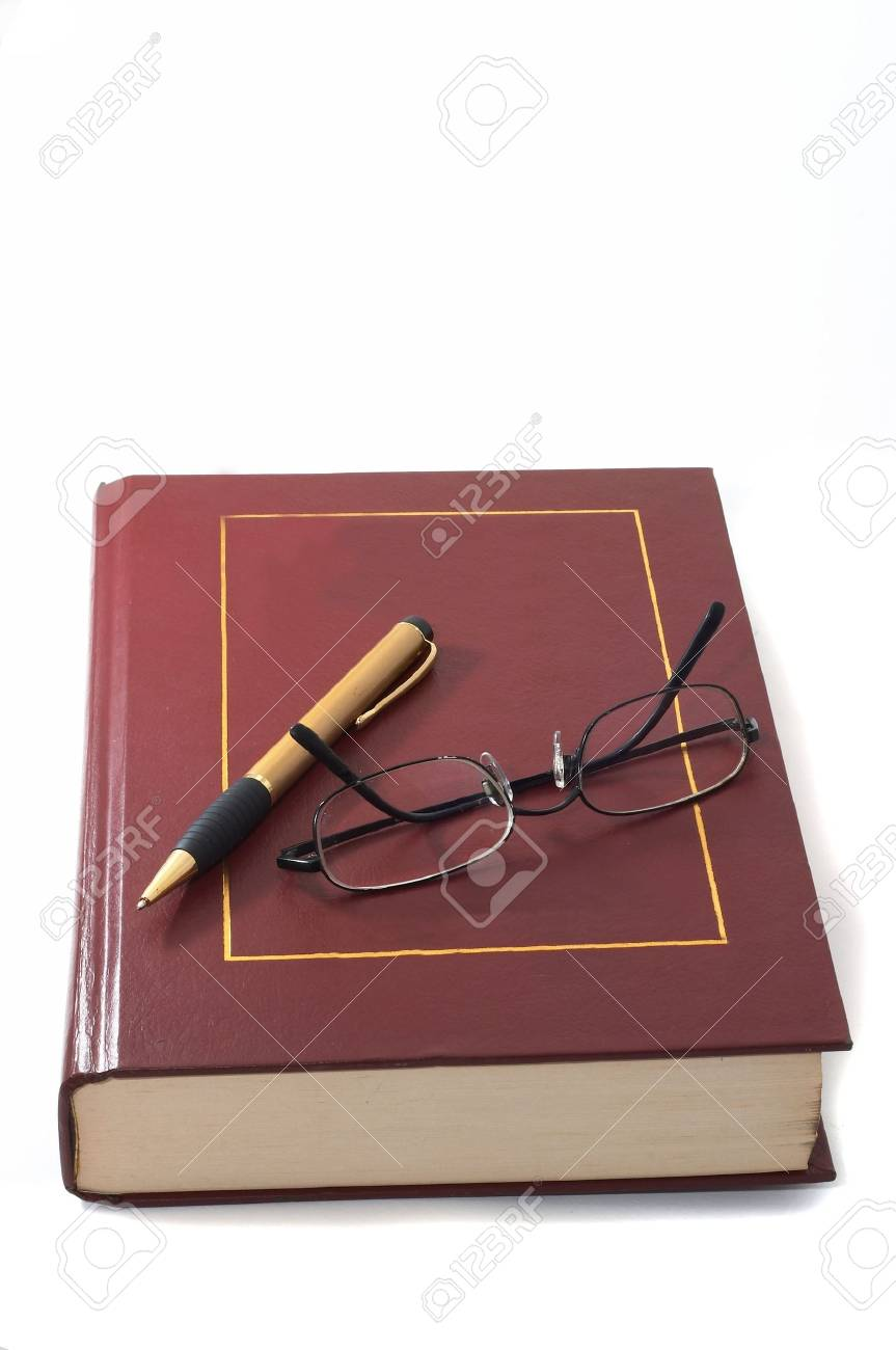 Book with pen and glasses, education and research, academic. Stock Photo - 515989