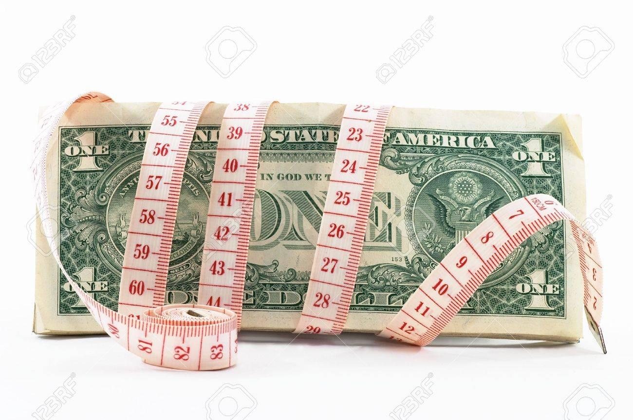 Maßband über Geld, Budgetierung, Geld Messen, Schmalem Budget ...