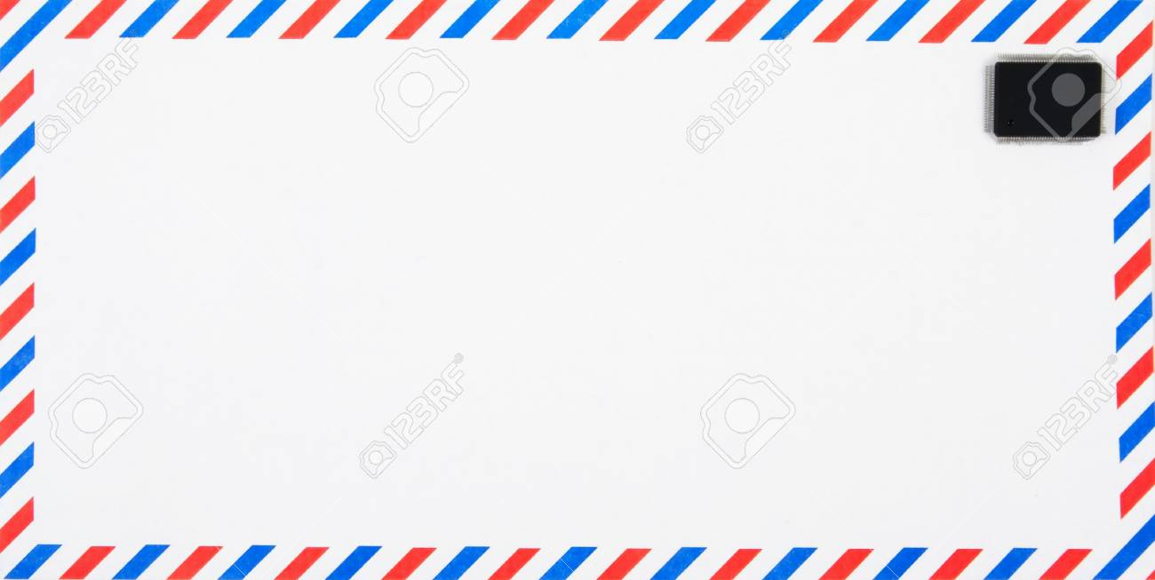 Air Mail Envelope With Electronic, Silicon Chip As Stamp ...