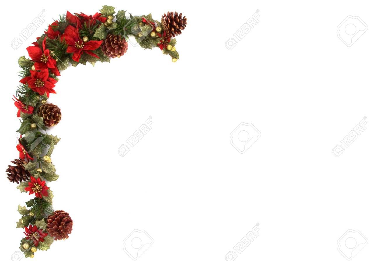 Rand Van Kerst Mis Decoratie Op Een Witte Achtergrond En Geisoleerd
