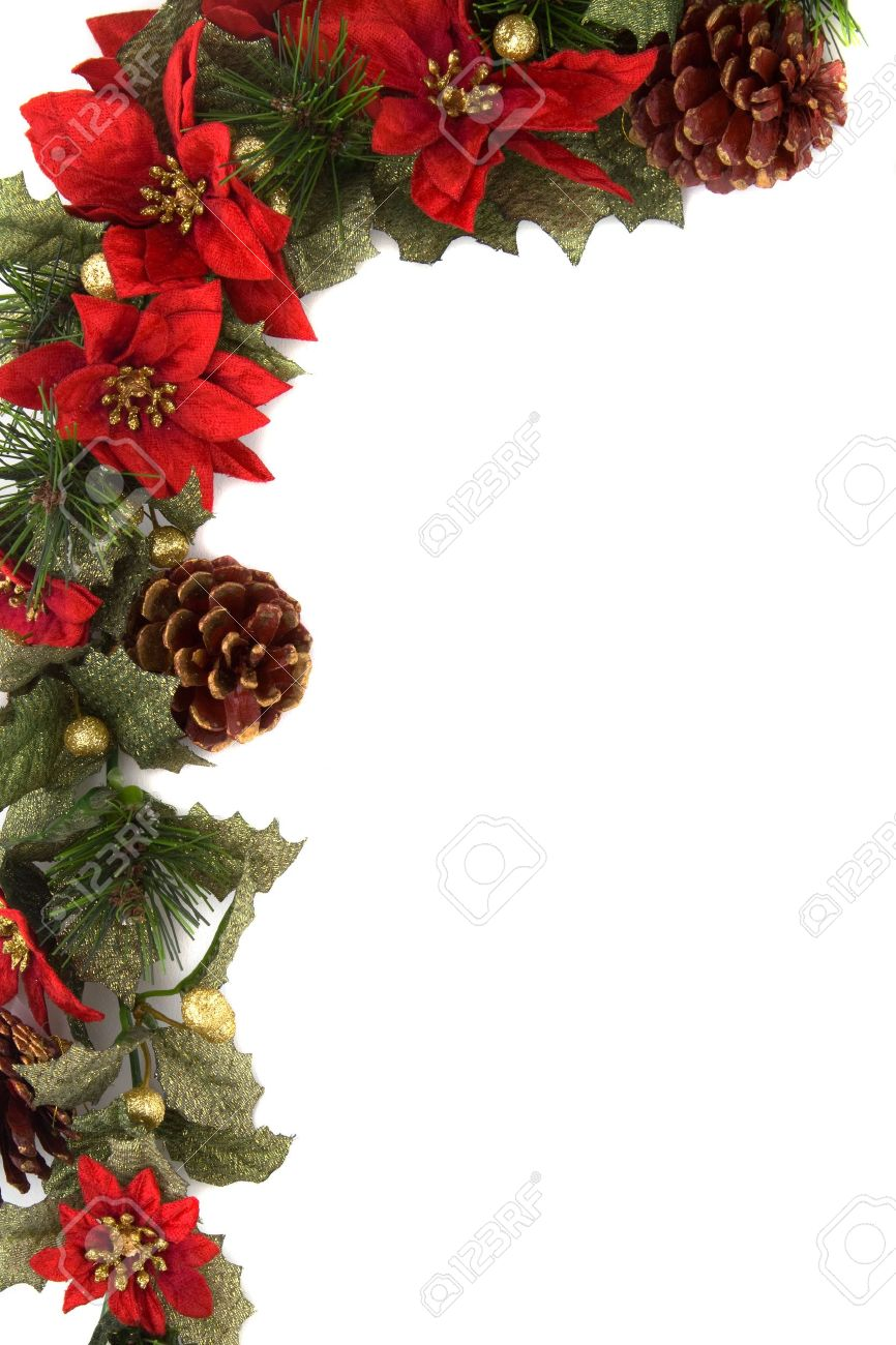 Border made of Christmas decoration. On white background and isolated, with some copy space for text. Stock Photo - 5893976
