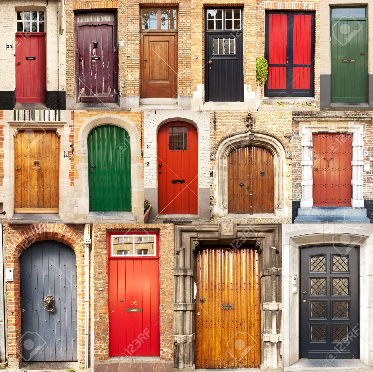 A collage of 15 different European front entrance doors from the town of Bruges in Belgium & A Collage Of 15 Different European Front Entrance Doors From.. Stock ...
