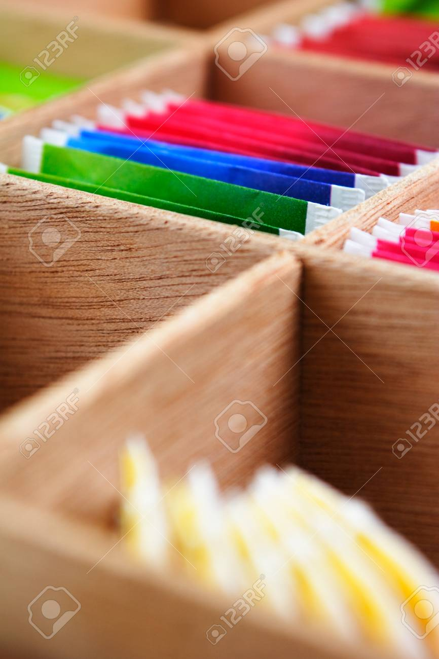 Assorted Tea Bags In A Wooden Box