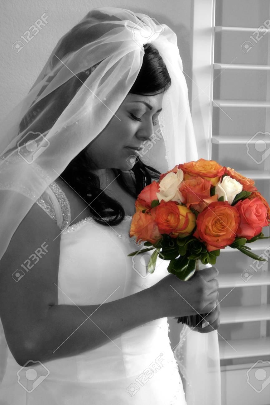 bride smells her bouquet - 1686763