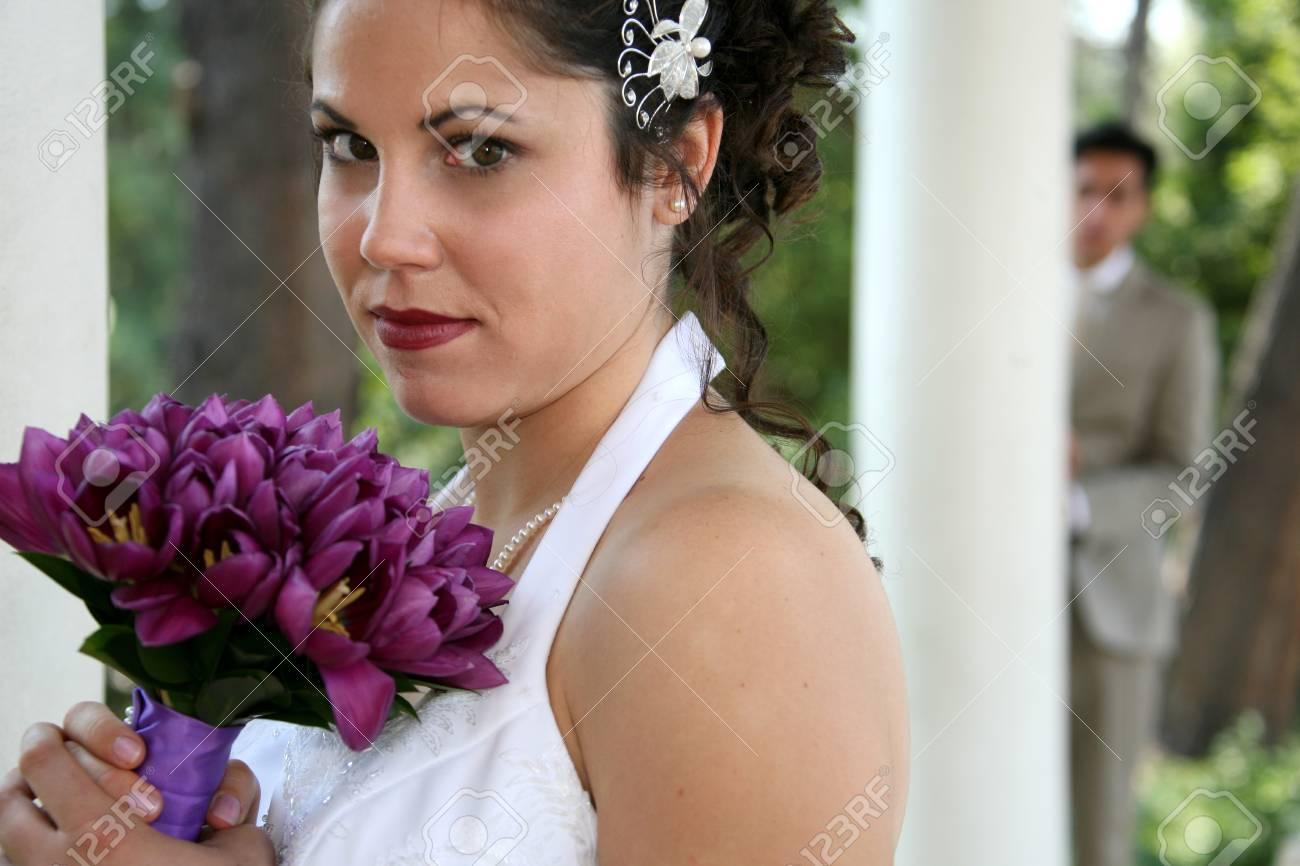 bride smells her bouquet - 1686806