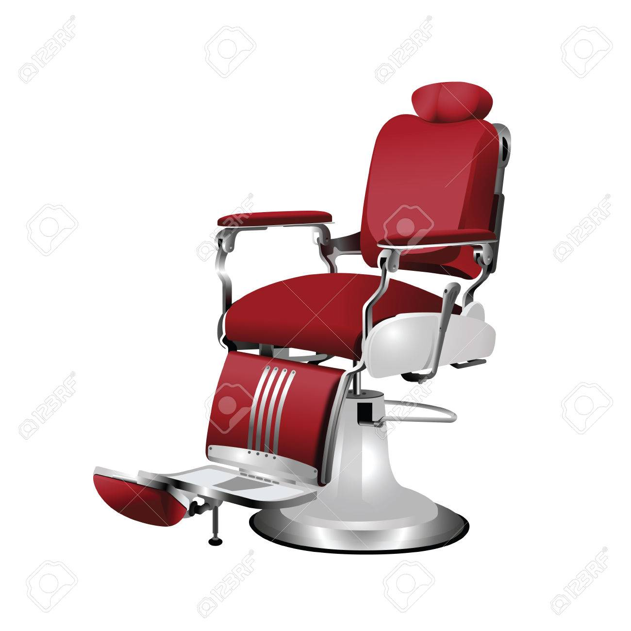 Vector   Vector Red Barber Chair On A White Background